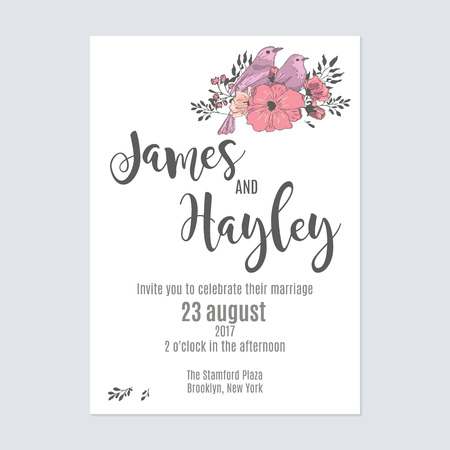 Flower wedding invitation card template with a bouquet and a bird in the corner