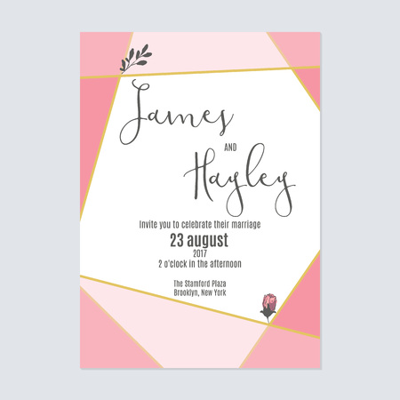 Linear geometry pink floral wedding invitation card template vector