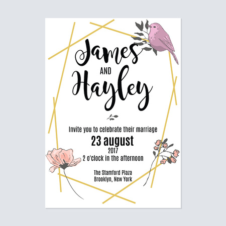 Gold geometric lines floral wedding invitation card template vector