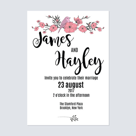 Cute minimalist with flowers and a bird floral wedding invitation card template vector Ilustrace