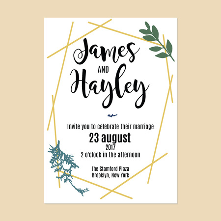 Minimalistic botany wedding invitation card template vector with a different vegetation