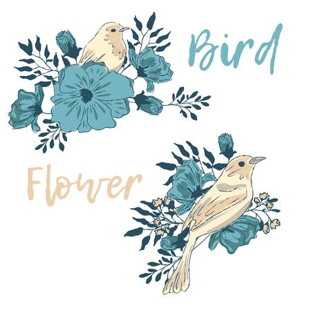 Birds and flowers. A collection of vector elements for design.