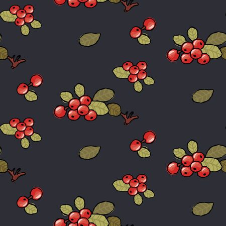 Lingonberry wallpaper seamless pattern on a black background Ilustrace