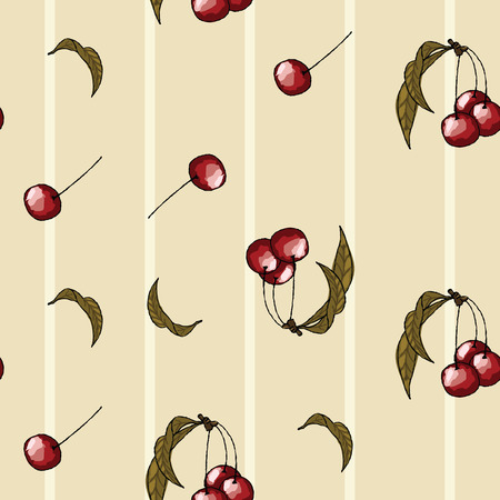 Cherry on a beige background Ilustrace