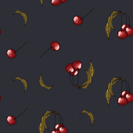 Cherry wallpaper seamless pattern on a black background