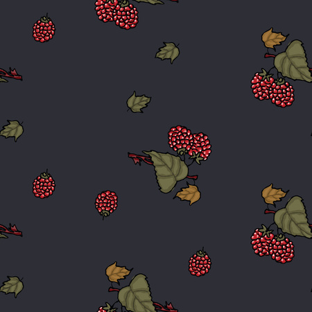 Raspberries wallpaper seamless pattern on a black background