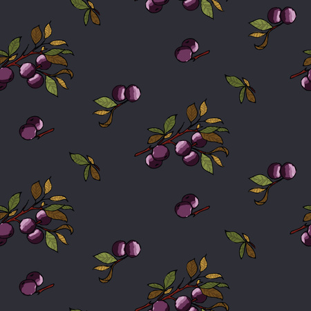 Blueberries wallpaper seamless pattern on a black background
