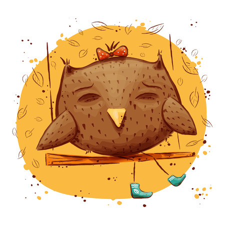 Cute owl with autumn leaves. Character owl, autumn.