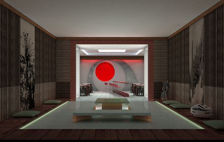 Sushi bar. Interior design. 3d rendering. photo