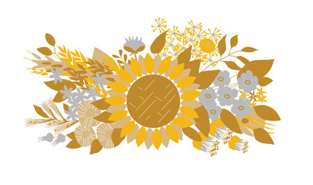 Bouquet with a sunflower with different flowers and plants. Stock Vector - 3482536