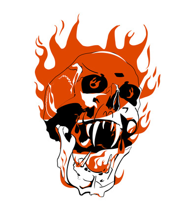 morbid: Skull on fire. Danger.