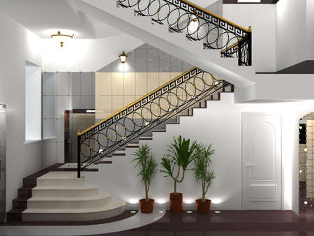 stairs interior: Interior with cast iron fence of classical style. Stock Photo