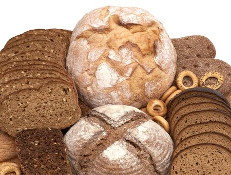 Various kinds of fresh tasty bread.