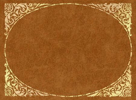 Gold frame on light-brown leather  Stock Photo
