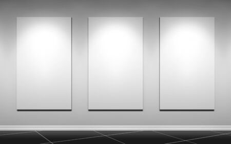 gallery wall with three blank posters Stock Photo