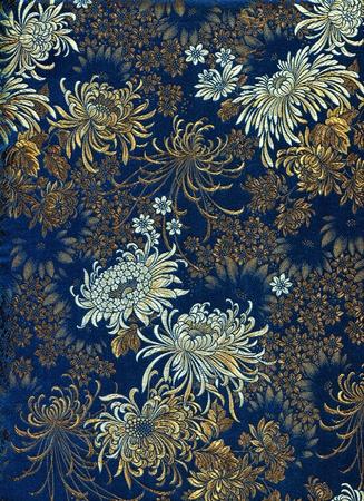 Chinese silk with flower motive  Chrysanthemums Stock Photo - 14126203
