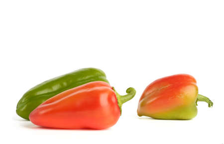 Close-up of fresh bell peppers on white background   Stock Photo