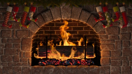 Burning Yule Log in fireplace decorated with christmas stockings
