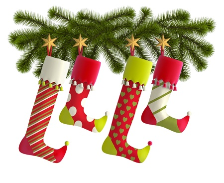 christmas decorations with white background: Christmas stockings with fir branches on white background