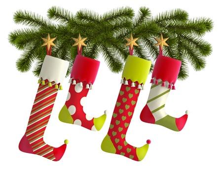 holiday home: Medias de Navidad con ramas de abeto en el fondo blanco