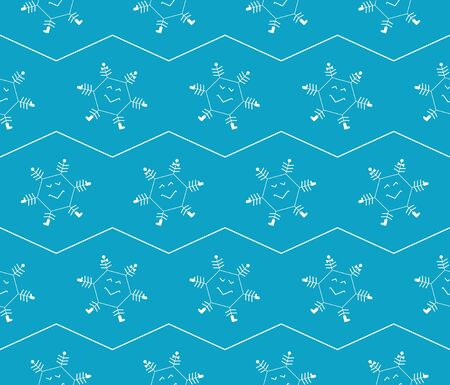 Snowflakes  Blue comic seamless pattern for packing paper  Stock Vector - 16787854