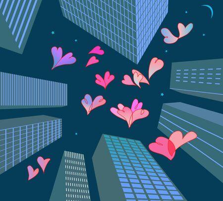 Fluttering hearts in mega-city Stock Vector - 17510688