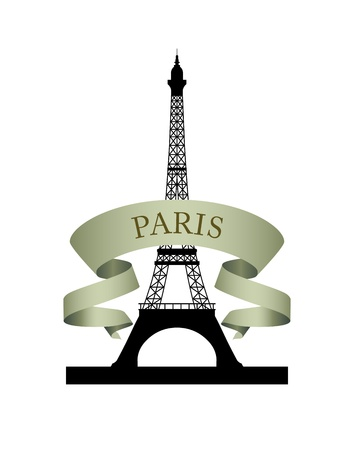 Eiffel Tower. Vector emblem of Paris with ribbon.