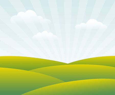 sky background: Spring Day  Green fields are warmed by rays of sun