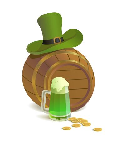 Irish holiday with green beer, barrel, leprechaun hat and gold coins Stock Vector - 18392613