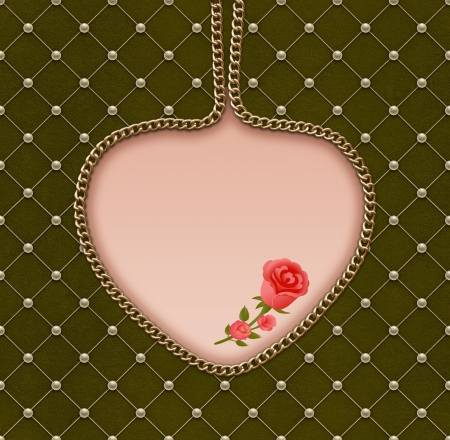 Vintage romantic greeting card. Pearl grid on green velvet with gold chain heart and roses. Stock Photo
