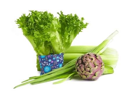 Fresh lettuce leaves, celery stems, scallion and artichoke.