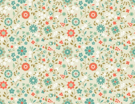 Decorative retro background with wild flowers. Seamless pattern.