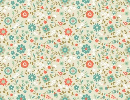 Decorative retro background with wild flowers. Seamless pattern.