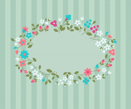 florescence: Floral greeting card. Vector background with wild flowers.  Illustration