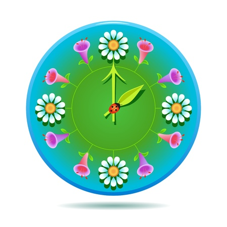 Summertime. Nature clock as meadow with flowers.