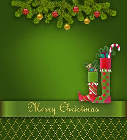 Christmas greeting card with christmas stockings