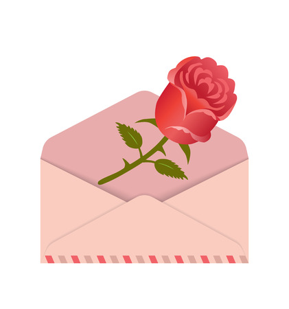 Love letter  Retro post envelope with red rose