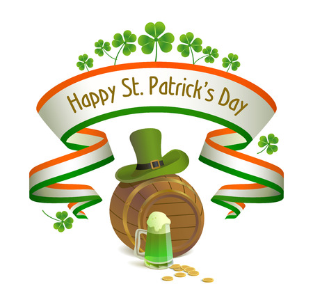 Saint Patrick s Day  Irish national holiday with leprechaun hat, keg, clover and green beer