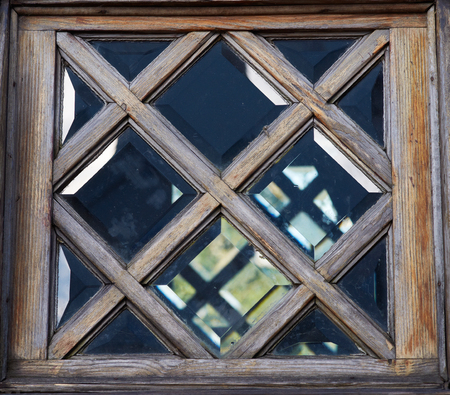Old wooden window frame. Stock Photo