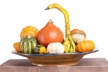 Decorative squashes and pumpkins on plate.