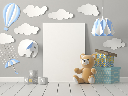 Mock up blank poster on wall of nursery room. Happy Childhood, 3D rendering. Stock Photo