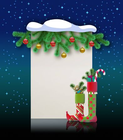 Merry Christmas. Magic holiday greeting card for art title. Blank banner for felicitation, invitation, congratulation.