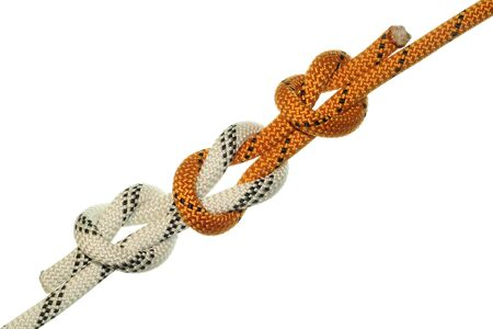 alpinism: Straight knot on orange and white ropes