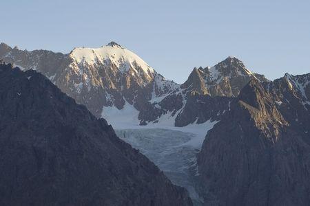 High mountain peak in evening sunlight Stock Photo - 2526296