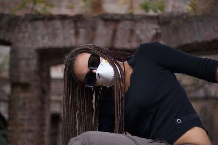 wierd: Girl with glasses and respirator