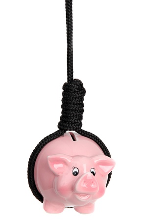 gibbet: pink piggy bank with black gibbet Stock Photo