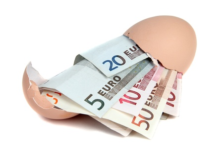 european currency in eggshell