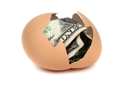one dollar bank note in eggshell