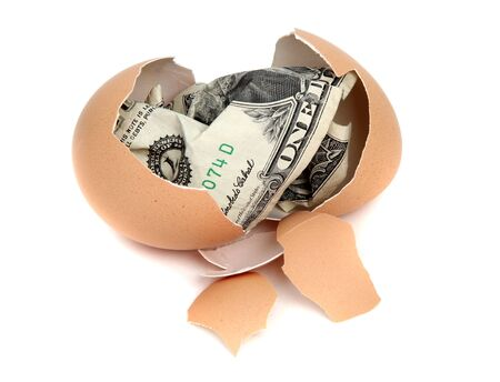 eggshell with one dollar bank note Stock Photo - 12290934