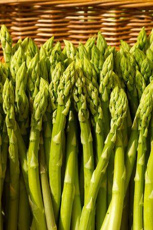 asparagus in wicker basket